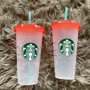 Two BRAND NEW Starbucks colour changing cups. 2021